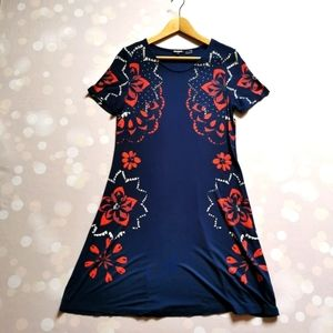 🇪🇸 Desigual S t-shirt summer dress Blue and Red